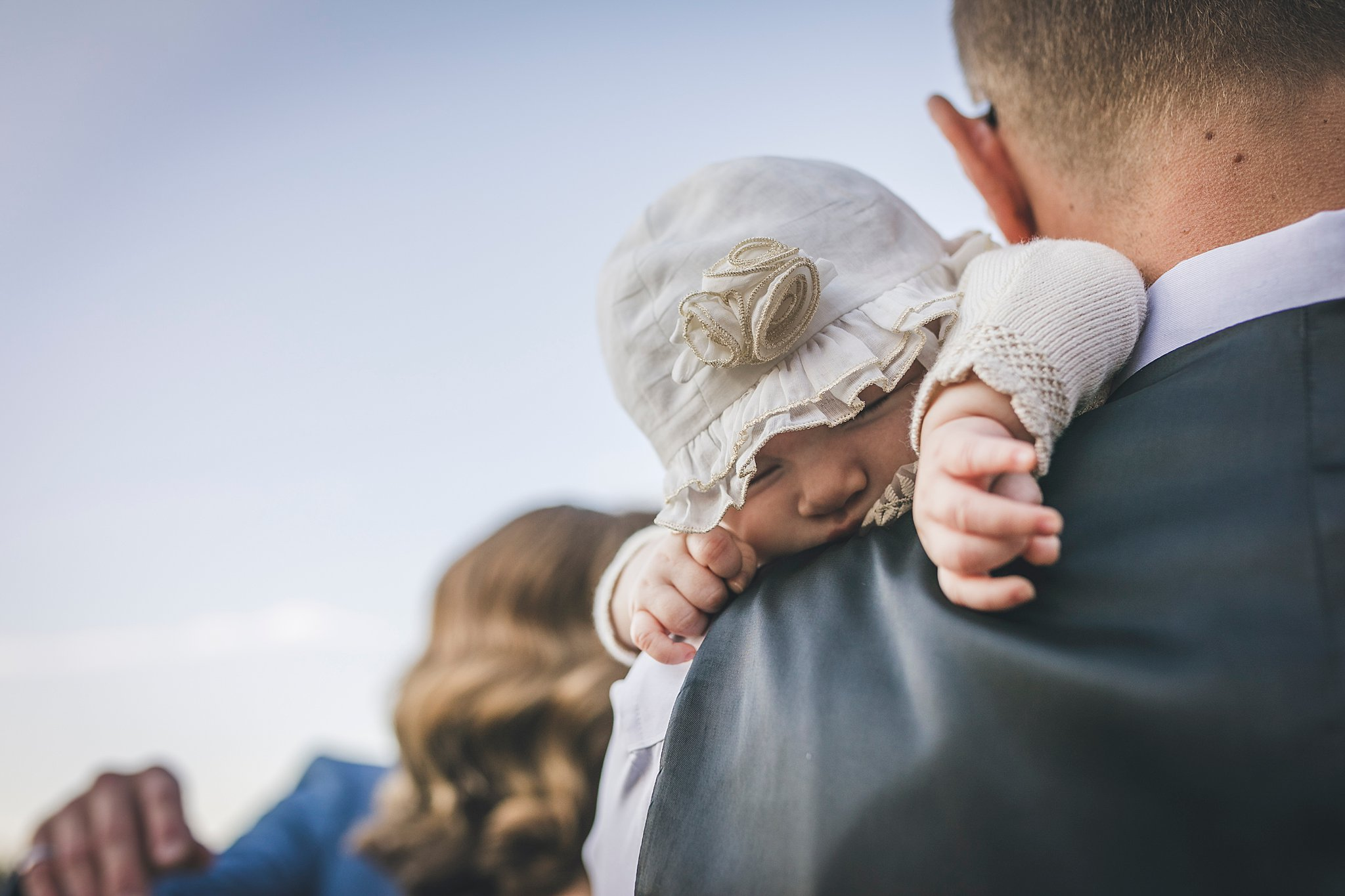 Groom and his infant daughter after their ceremony held in St. John's, Newfoundland