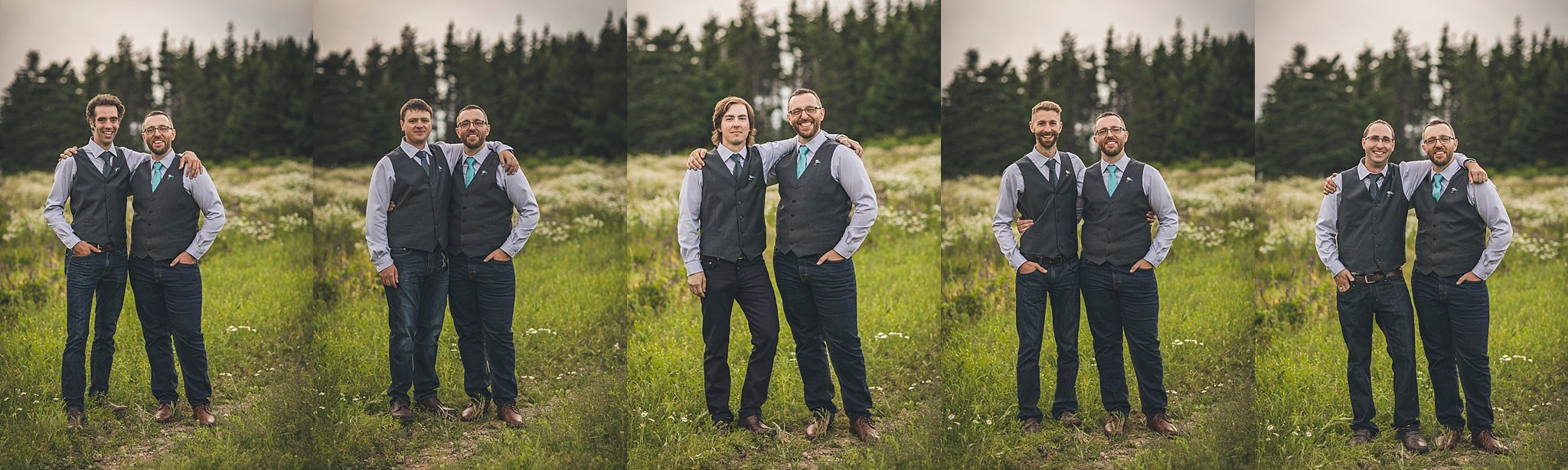 Groom and groomsmen during a St. John's, Newfoundland wedding held at Lester's Farm