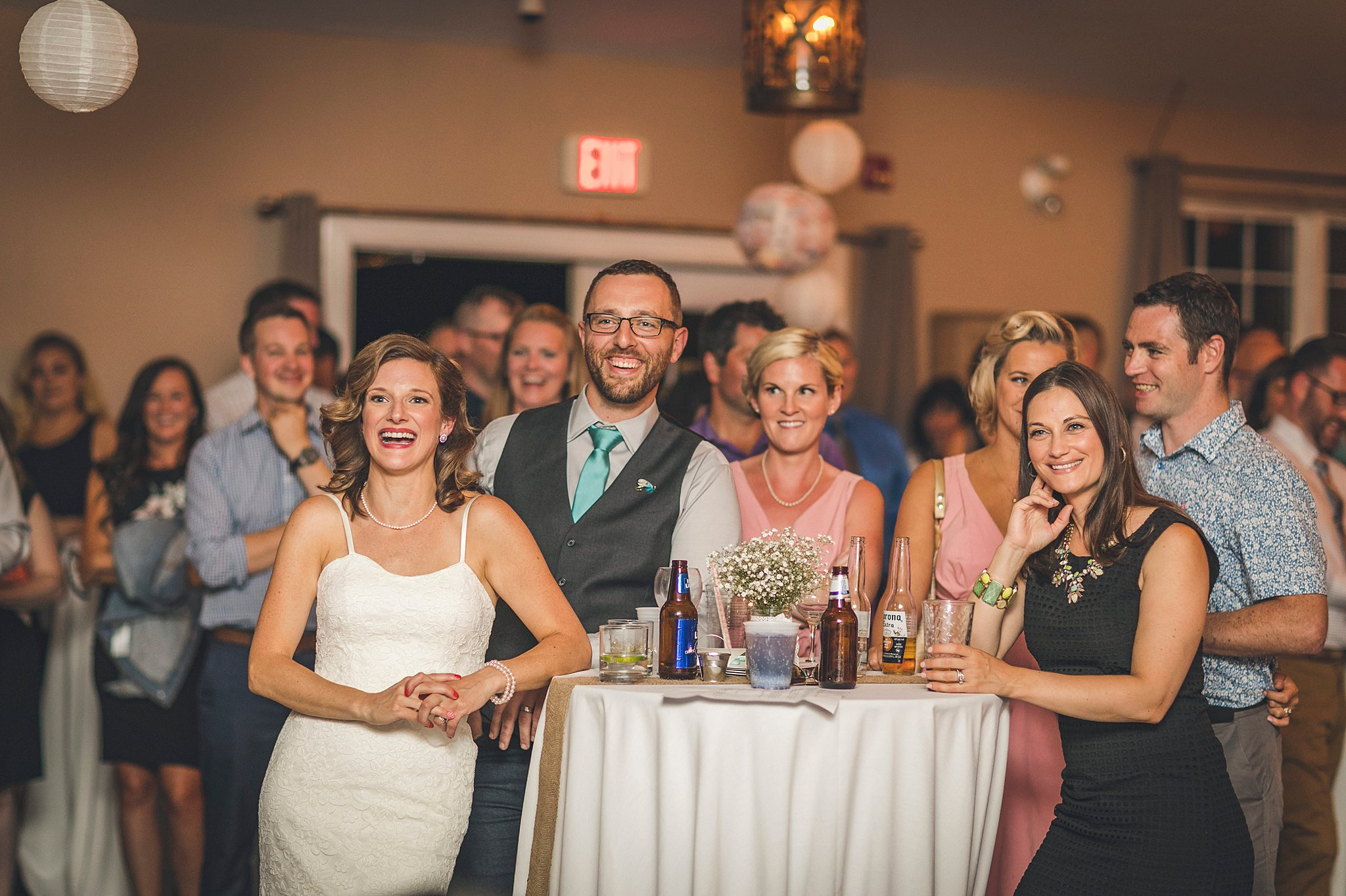 Bride and groom react to speeches during their St. John's Newfoundland wedding