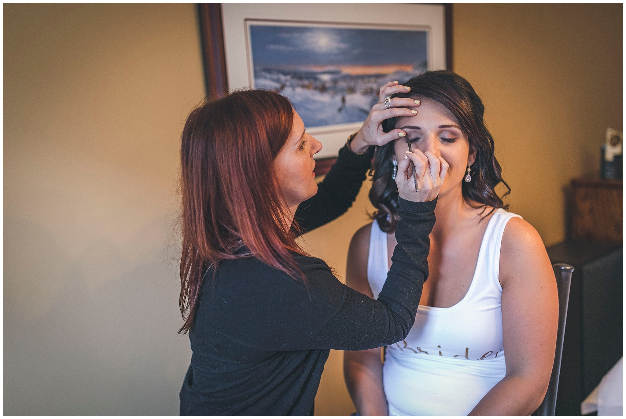 Bride starts to get ready for her wedding