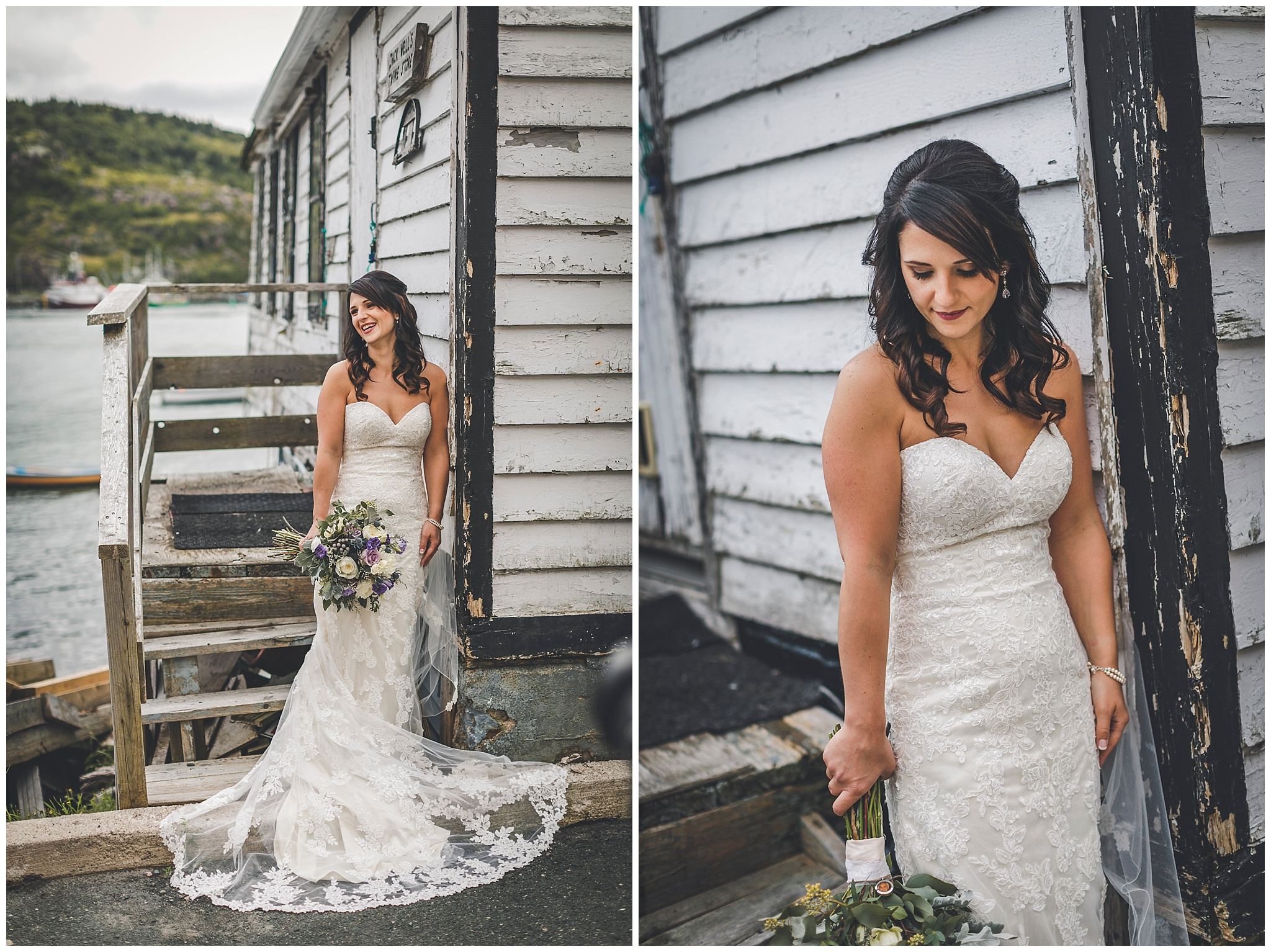Bride in front of a local fishing stage in St. John's