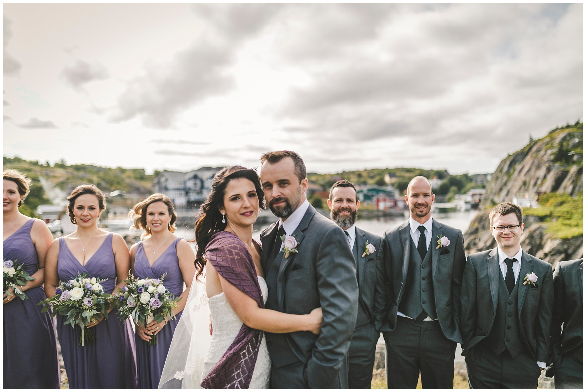 Wedding Party in Quidi Vidi during a cool late summer wedding