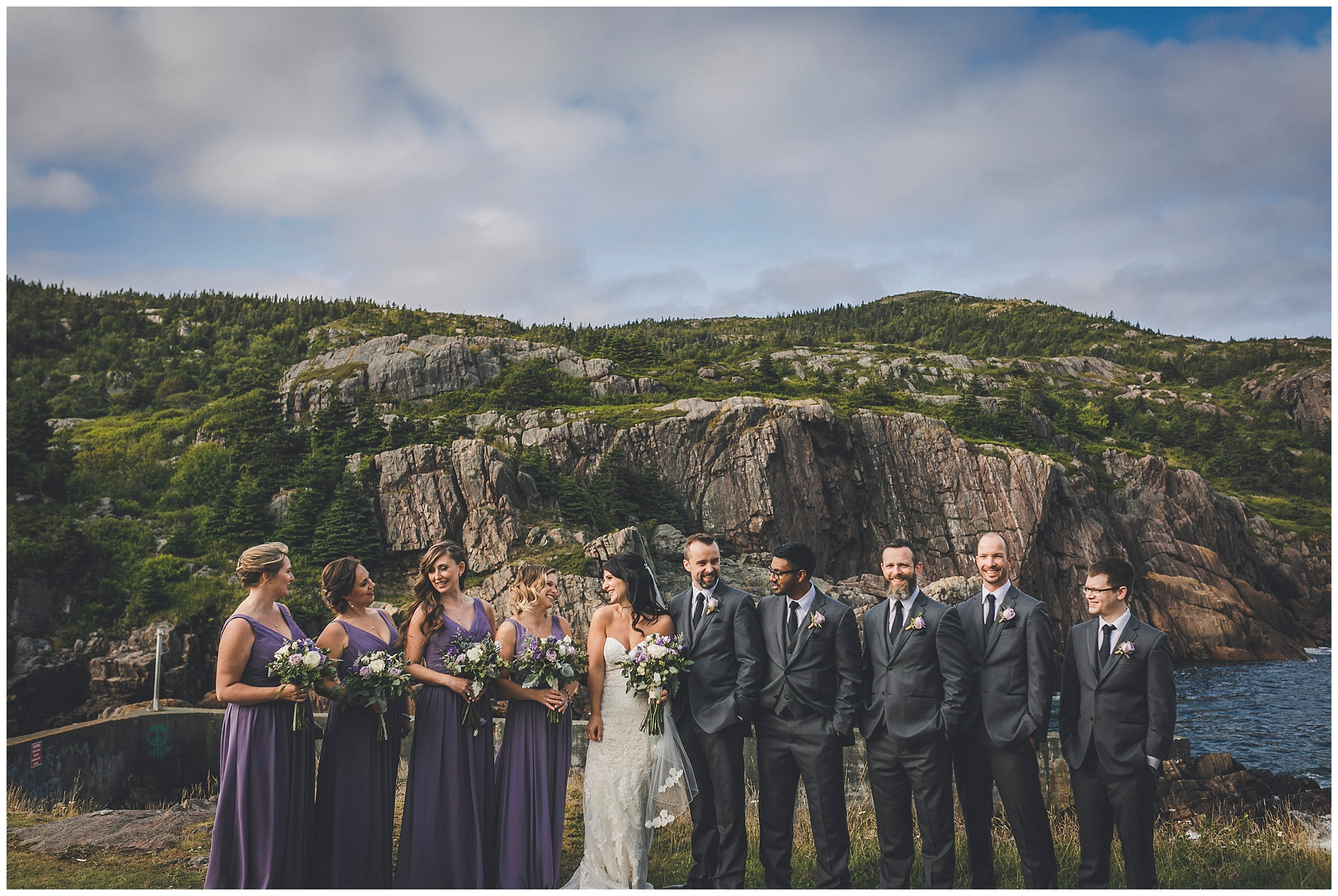 Wedding Party near the water break in Quidi Vidi