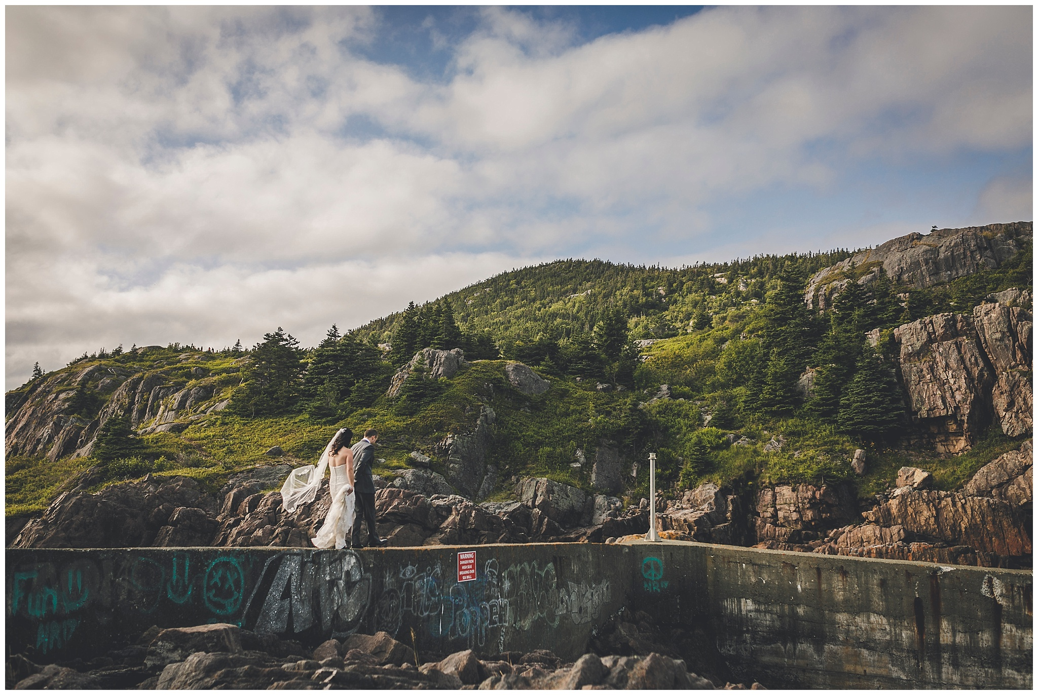 Bride and Groom on their way out on the water break in Quidi Vidi