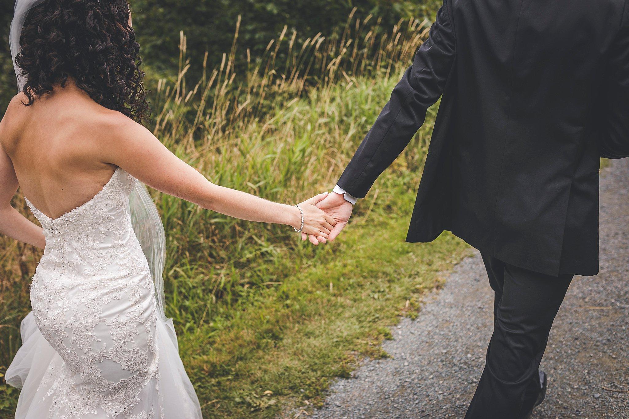 Groom leads Bride