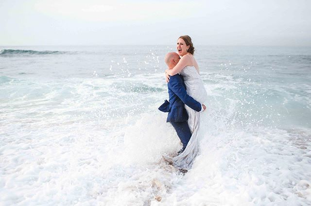 What would you say if I asked you to jump in the waves in your wedding attire at sunrise?