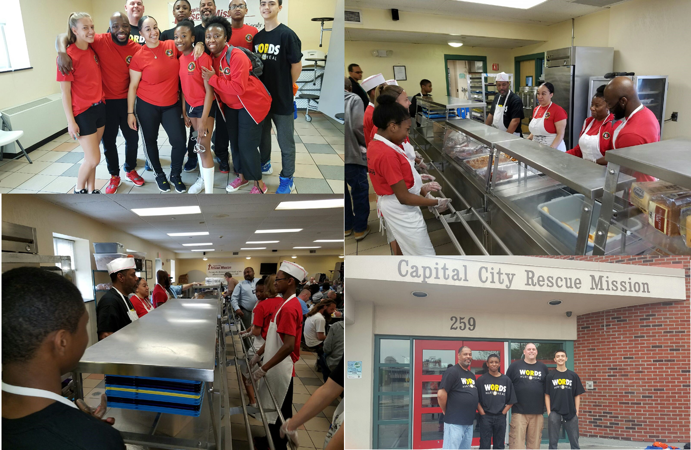 Last month a group of Blackbelt students from the American Institute of Japanese Karate School in Menands volunteered their time at the Capital City Rescue Mission in downtown Albany.  The group was one of the largest the Rescue Mission had seen all year, and was able to serve lunches to over 100 people and bag an additional 600 lunches! These young people were excited to give back to their community and are eager to continuing their volunteer work!