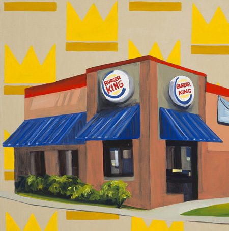 Big Five, 2017  Selected from Forbes 2016 List of the top grossing franchises, the oil paintings in this series combine pattern and corporate architecture to highlight the similarities in these familiar structures. They function as an update of the 2016 Franchises series showcasing the most common free standing style of each of these chains in 2017.
