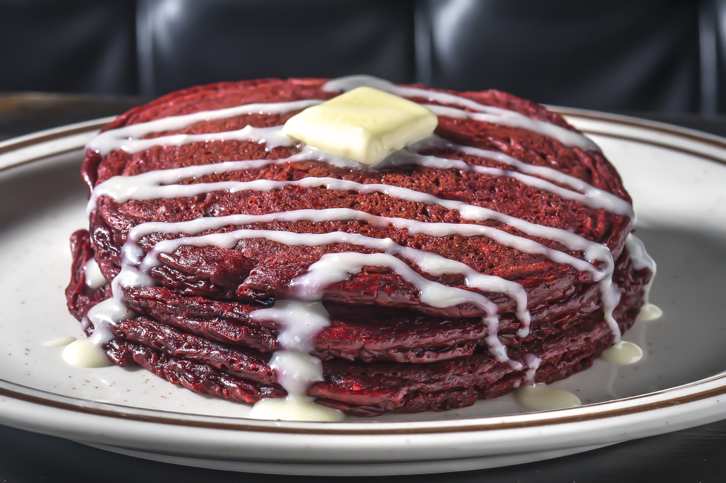 Red Velvet Pancakes, served starting Midnight. Photo credit Paul Wagtouicz.