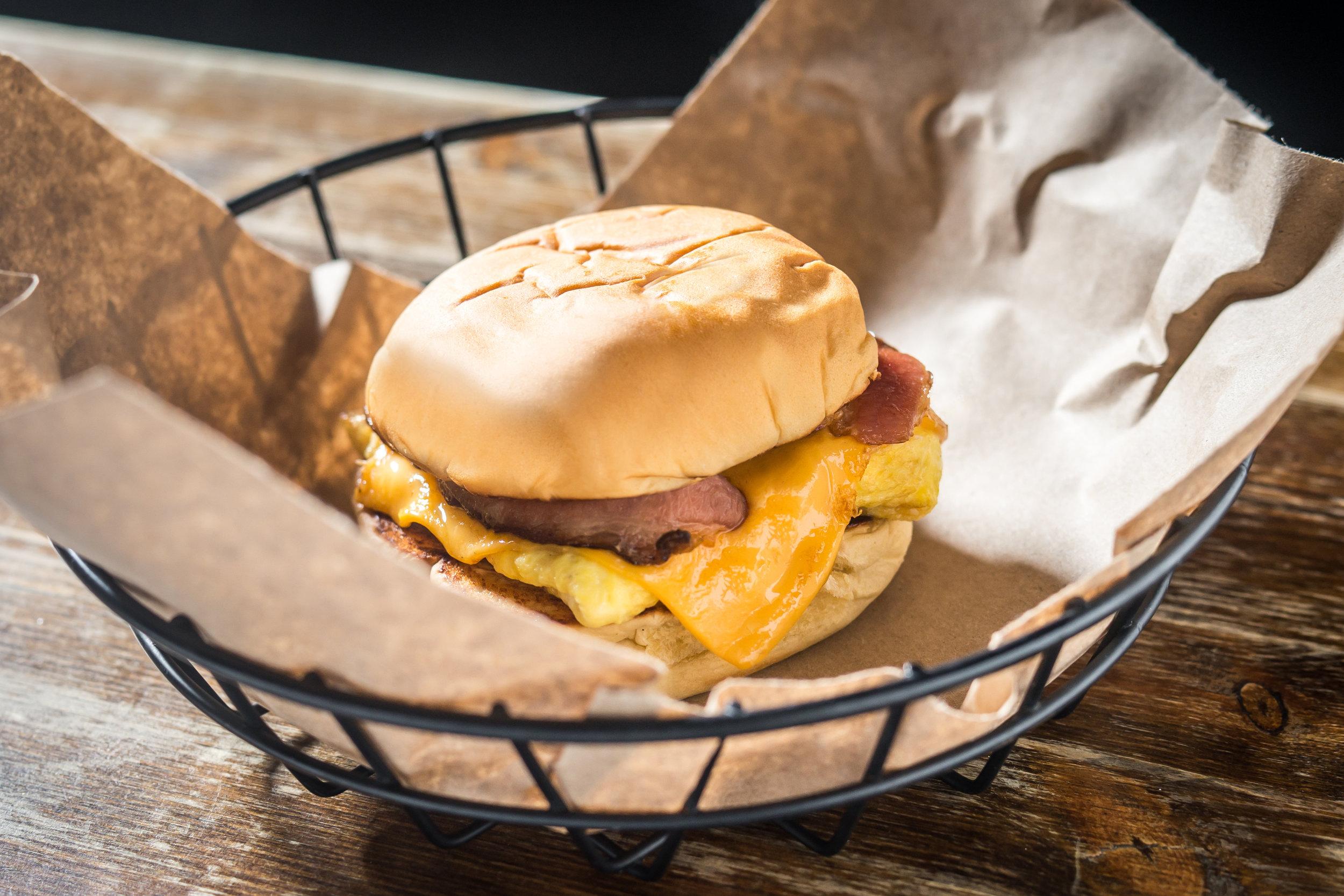 Egg Sandwich, served starting Midnight. Photo credit Paul Wagtouicz.