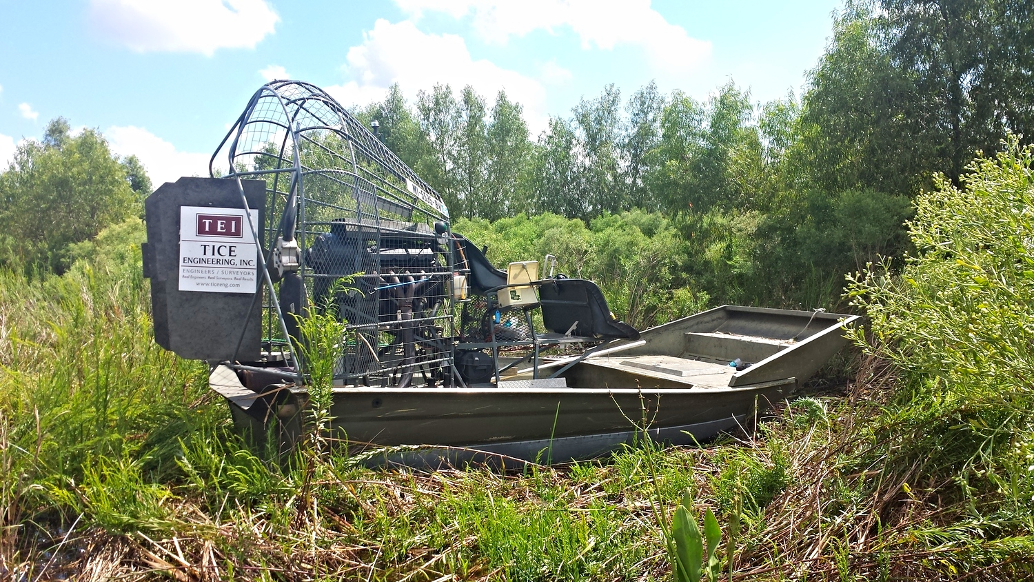 Tice Engineering's Air Boat on-site for the  Mississippi River LDSP and Bayou Dupont Marsh and Ridge Creation  project in Lafitte, Louisiana.