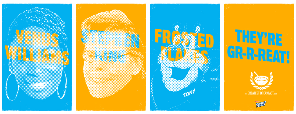 """Series of posters integrating """"Tony the Tiger"""" in the mix."""