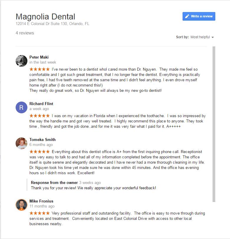 Best Dentist, Orlando, Great Reviews, Magnolia Dental