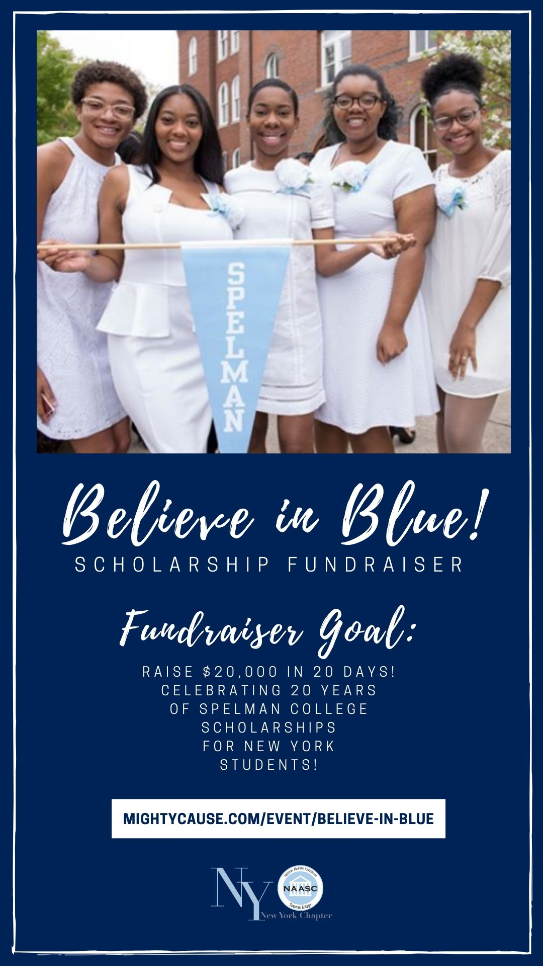 - The New York Chapter of The National Alumnae Association of Spelman College is celebrating its 20th of our scholarship fund and we would love your help in raising $20,000 in 20 days to celebrate 20 years of supporting Spelman students from New York!ABOUT OUR SCHOLARSHIP FUND: The Virginia T. Dowell Endowed Scholarship Fund provides scholarships for incoming Spelman College students from New York. During the last 20 years, we have provided over 50 students with $200,000 in funding to alleviate college costs and ensure students are able to graduate from Spelman College.Donate and help us us raise $20,000 by June 30!