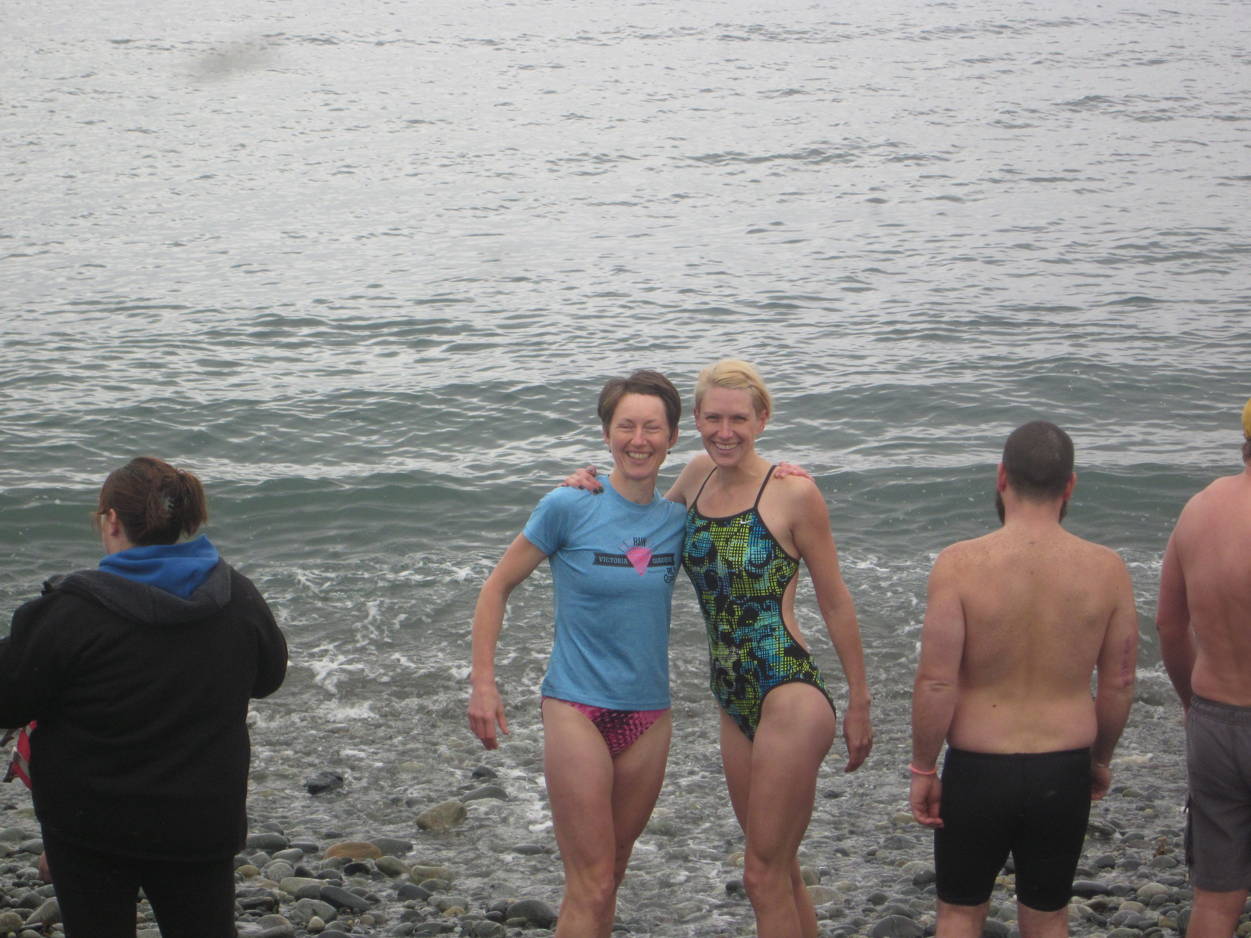 2014 New Year's Day polar bear swim in Sooke: Tory and Amanda