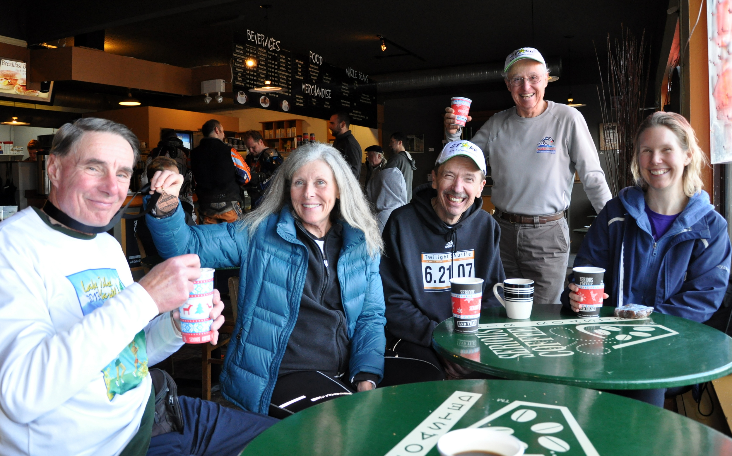 the Starr gang post race at the 2014 Cobble Hill (Island Series) 10km