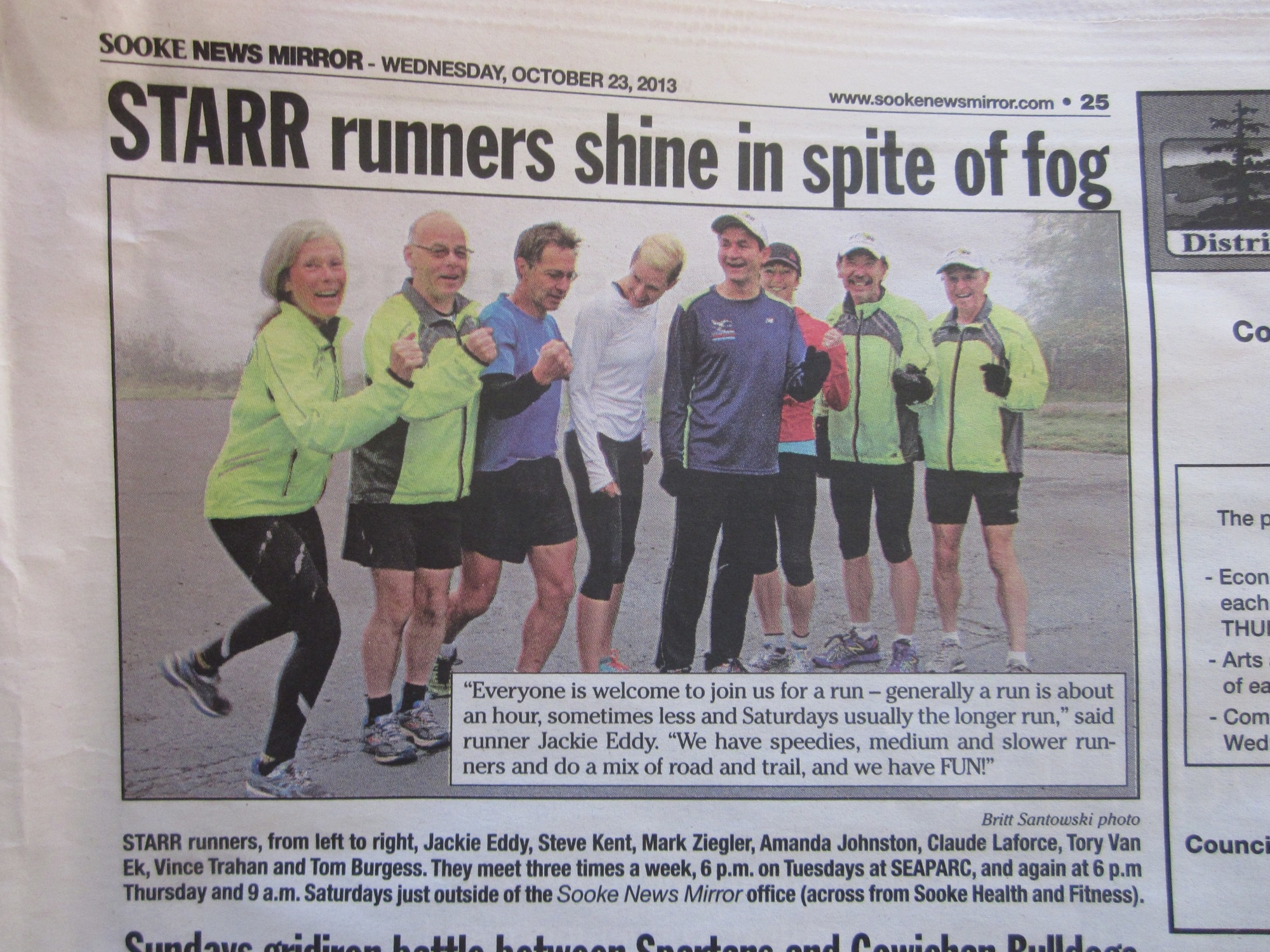 caught on camera before a Sat group run (Oct. 2013): Jackie, Steve, Mark, Amanda, Claude, Tory, Vince and  Tom.