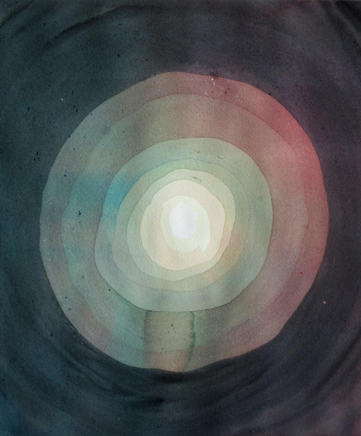 Moon ,2014, watercolour on cotton paper, 30.5 x 35.5 cm   Sold