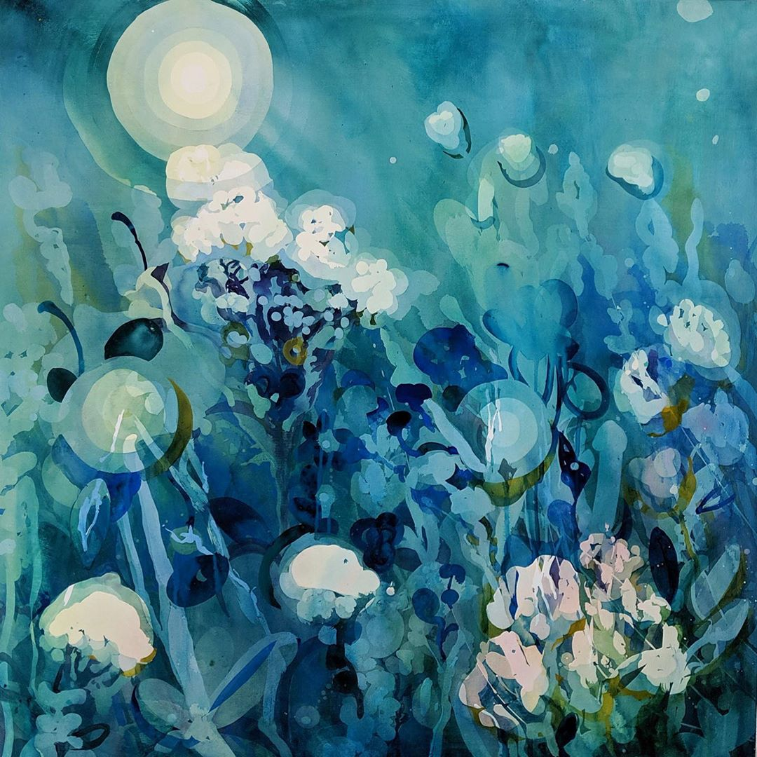 """Let's go out and feel the night""  36"" x 36"" Watercolour fresco on board  INQUIRE"