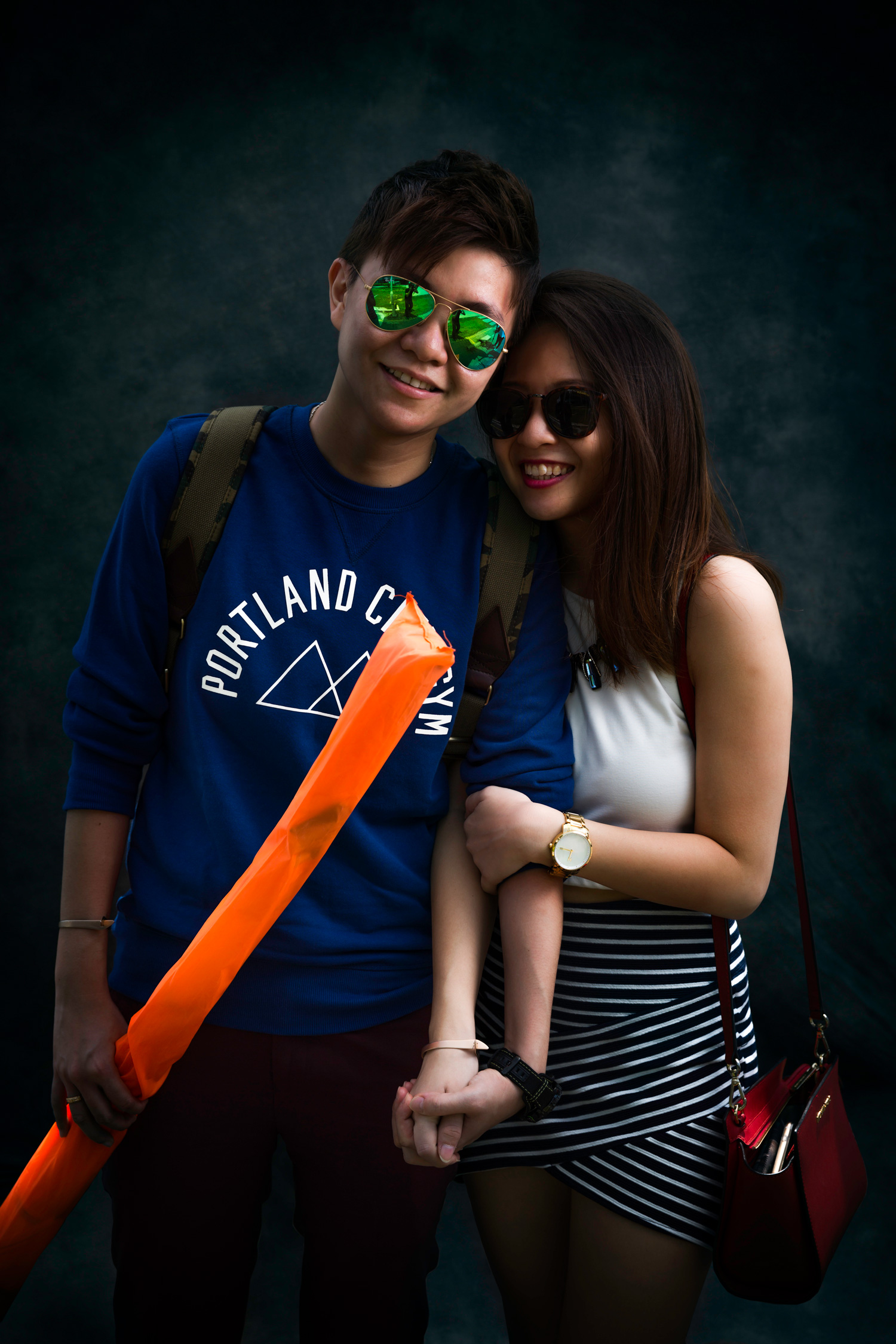 Whiteney & Zihui   We are about to call it a day but when we saw this cool looking couple in shades walking towards us, we just simply couldn't resist!  P.S: We saw them from afar having fun posing at the car park so we figured it was ideal to give them a photoshoot!