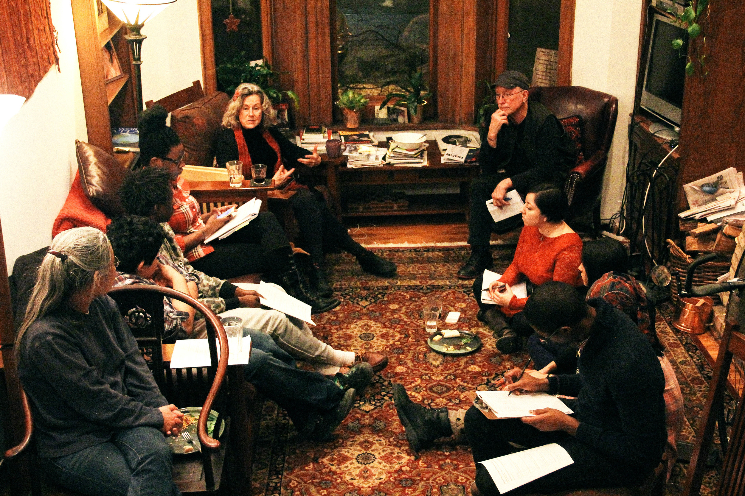 Cities of Peace Fellows gathered as the home of  Bill Ayers   and  Bernadine Dorhn for dinner and discussion .