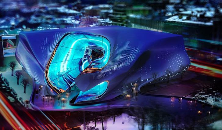 Studio Toggle的動態LED媒體外觀改變了莫斯科Pushkinsky電影的面貌。