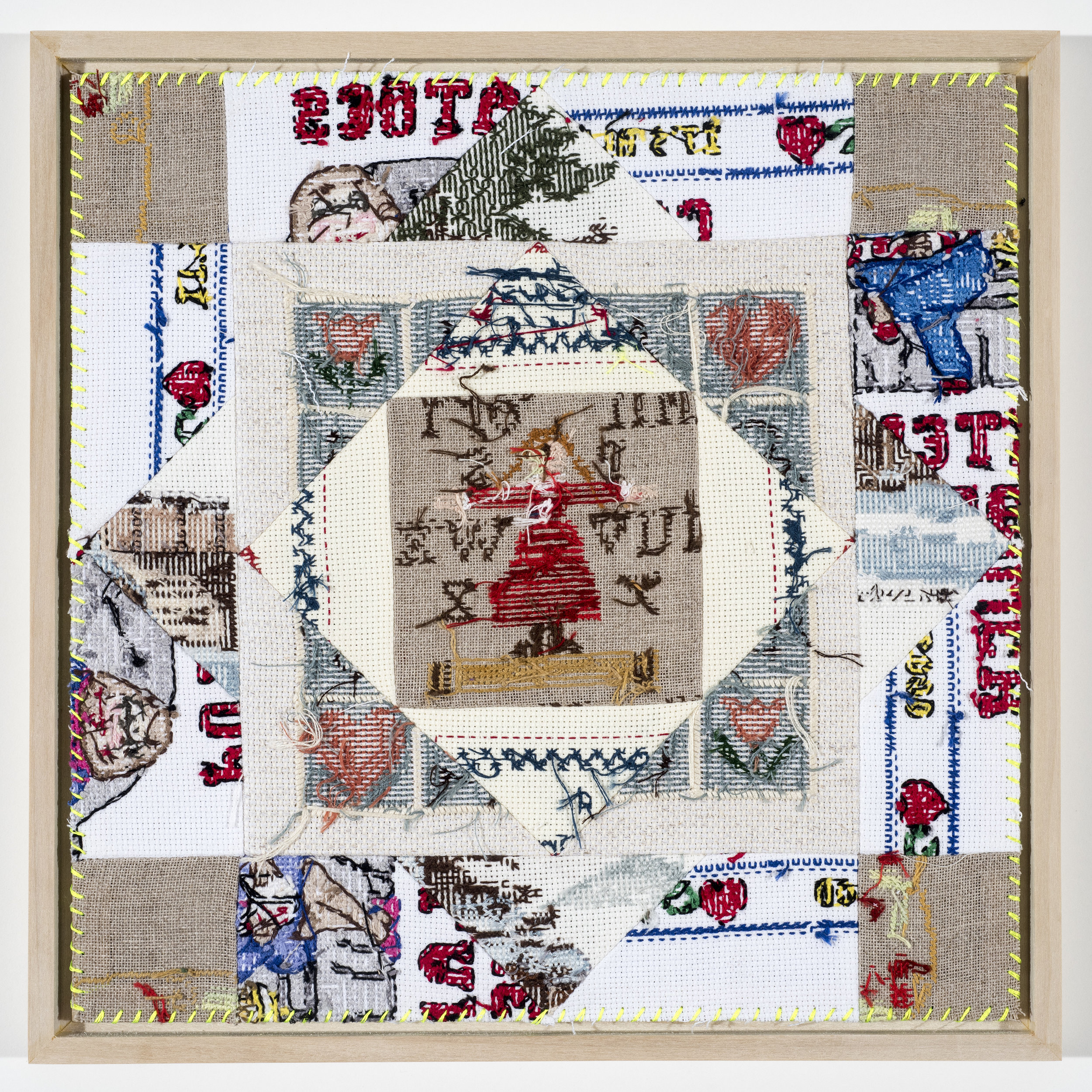 "Quilt Study 4 – Mother and the Son Found Embroidery, Aida 2@ 12"" x 12"" 2017"