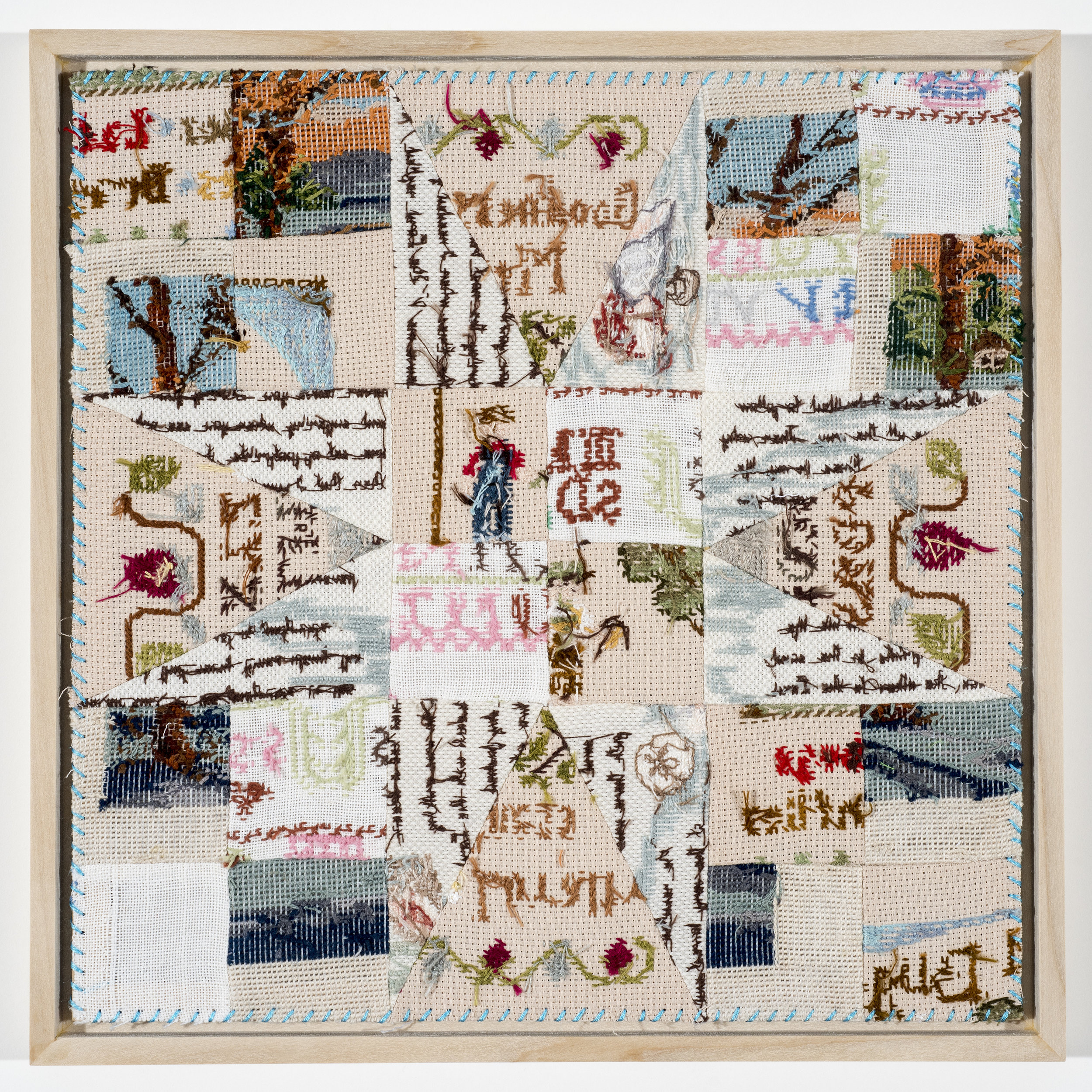 "Quilt Study 26 – Off the Rails Found Embroidery, Aida 12"" x 12"" 2017 $400"