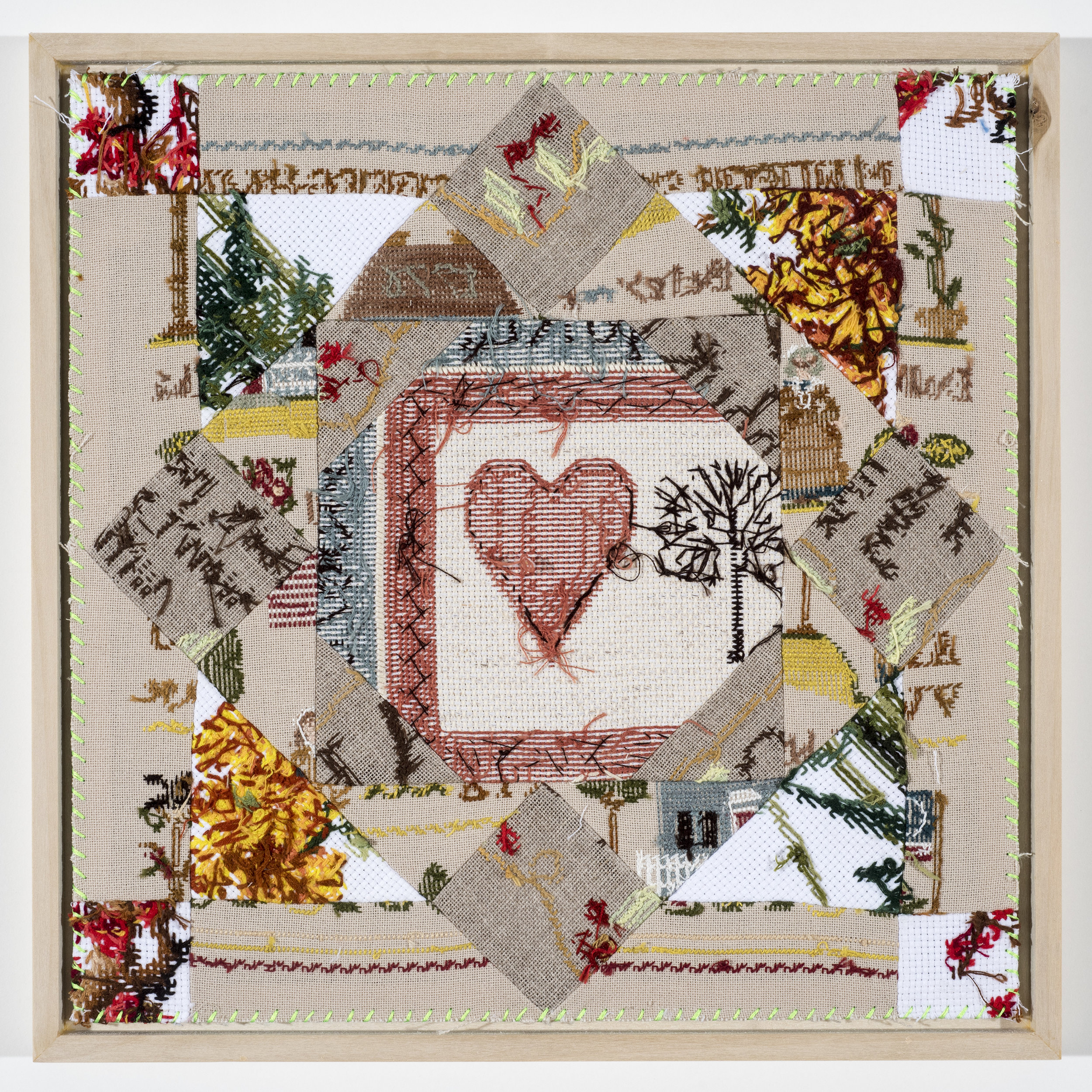 "Quilt Study 25 – Heartwood Found Embroidery, Aida 12"" x 12"" 2017 $400"