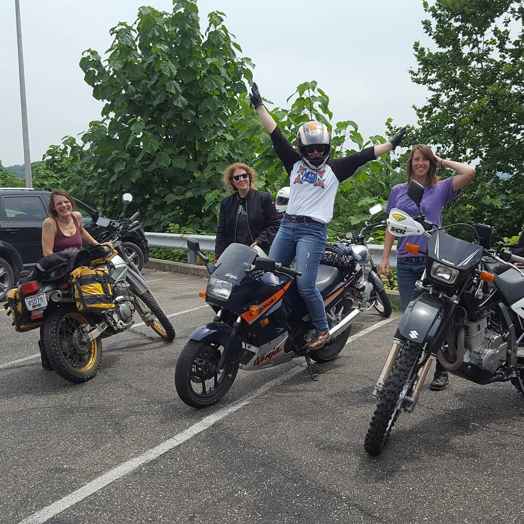 They started following me out of Athens and all along the Serpent's Tongue to Pomeroy and the Wild Horse Cafe. Biker Babes rule!