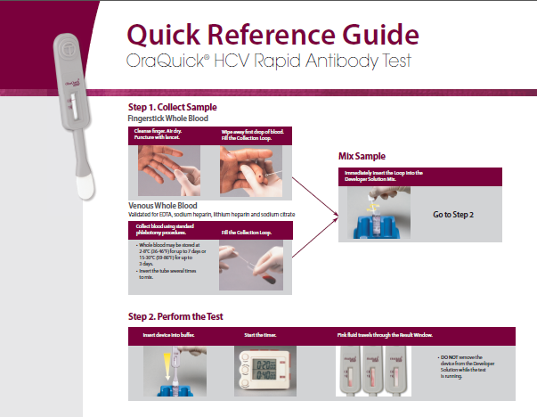 Through the One Life Program, CANAPI also offers the Oraquick HCV rapid antibody finger stick test. The test will take 20 minutes to produce a result. If the test shows a positive result, we will refer you for a blood test from the local health department, lab, or a primary care physician for a confirmatory lab sample.