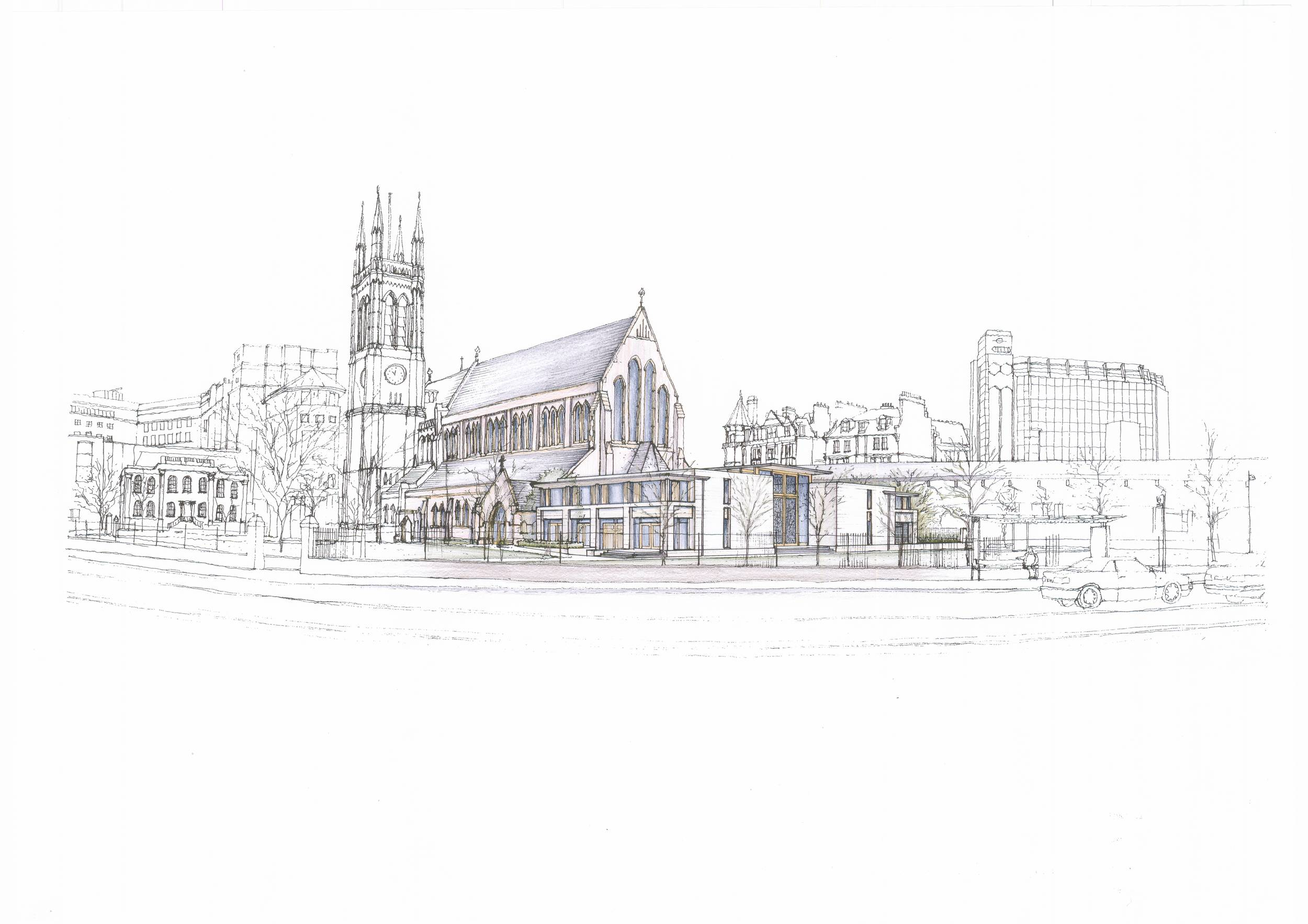 St. paul's Hammersmith West End Development North West perspective sketch Jan 06.JPG