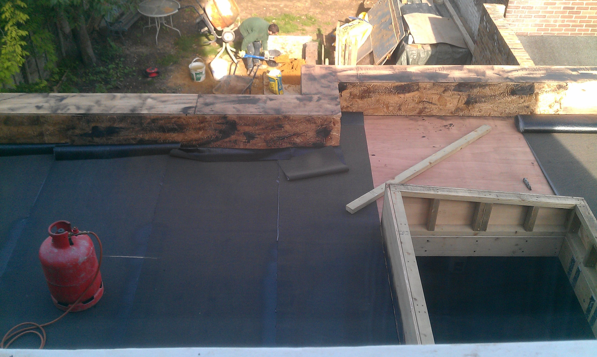 Waterproofing the new rear addition