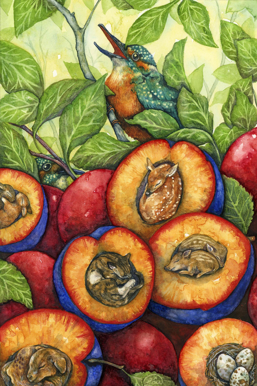 Spring Fling  Watercolor andink on paper 2015  Spring babies arrive in sweet plums.