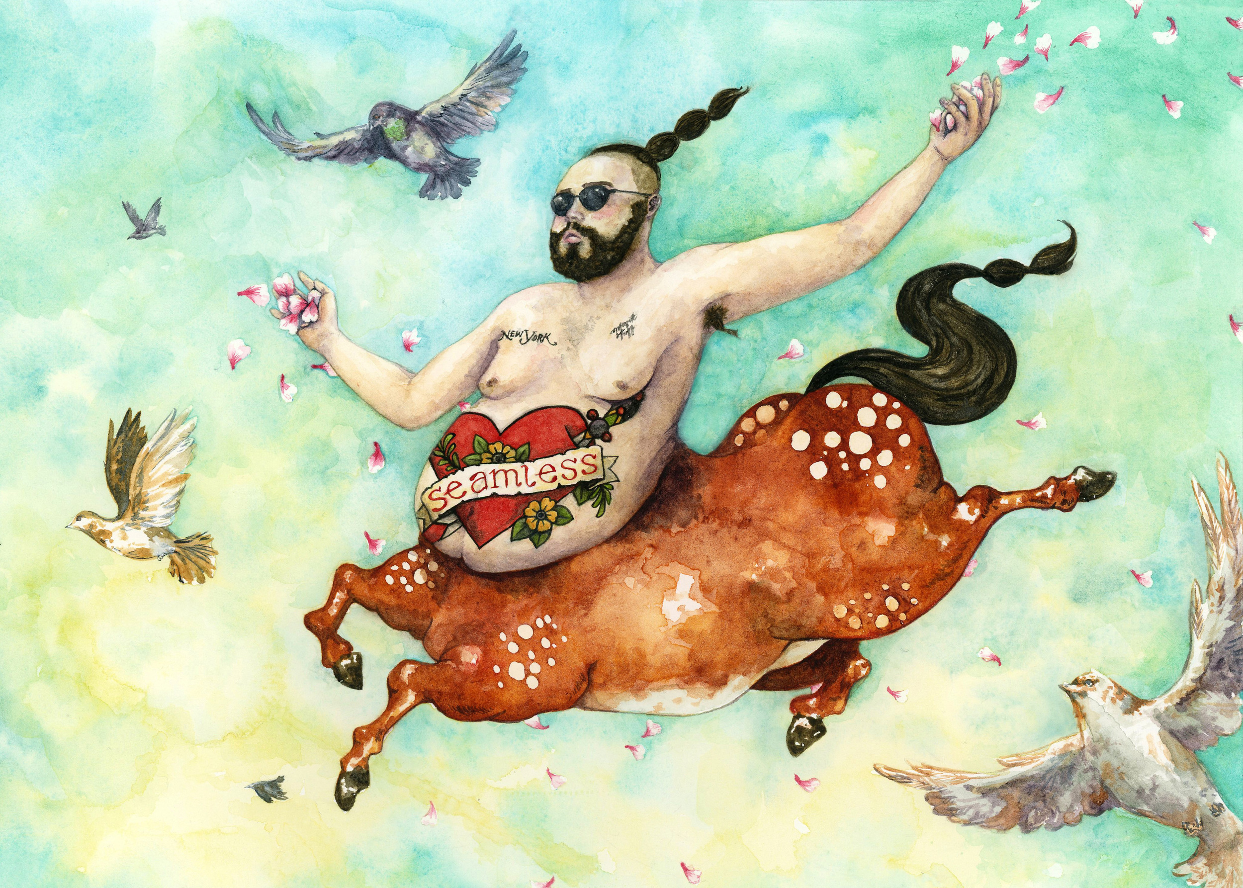 Josh on a centaur  Watercolor, ink and gouache on paper 2015