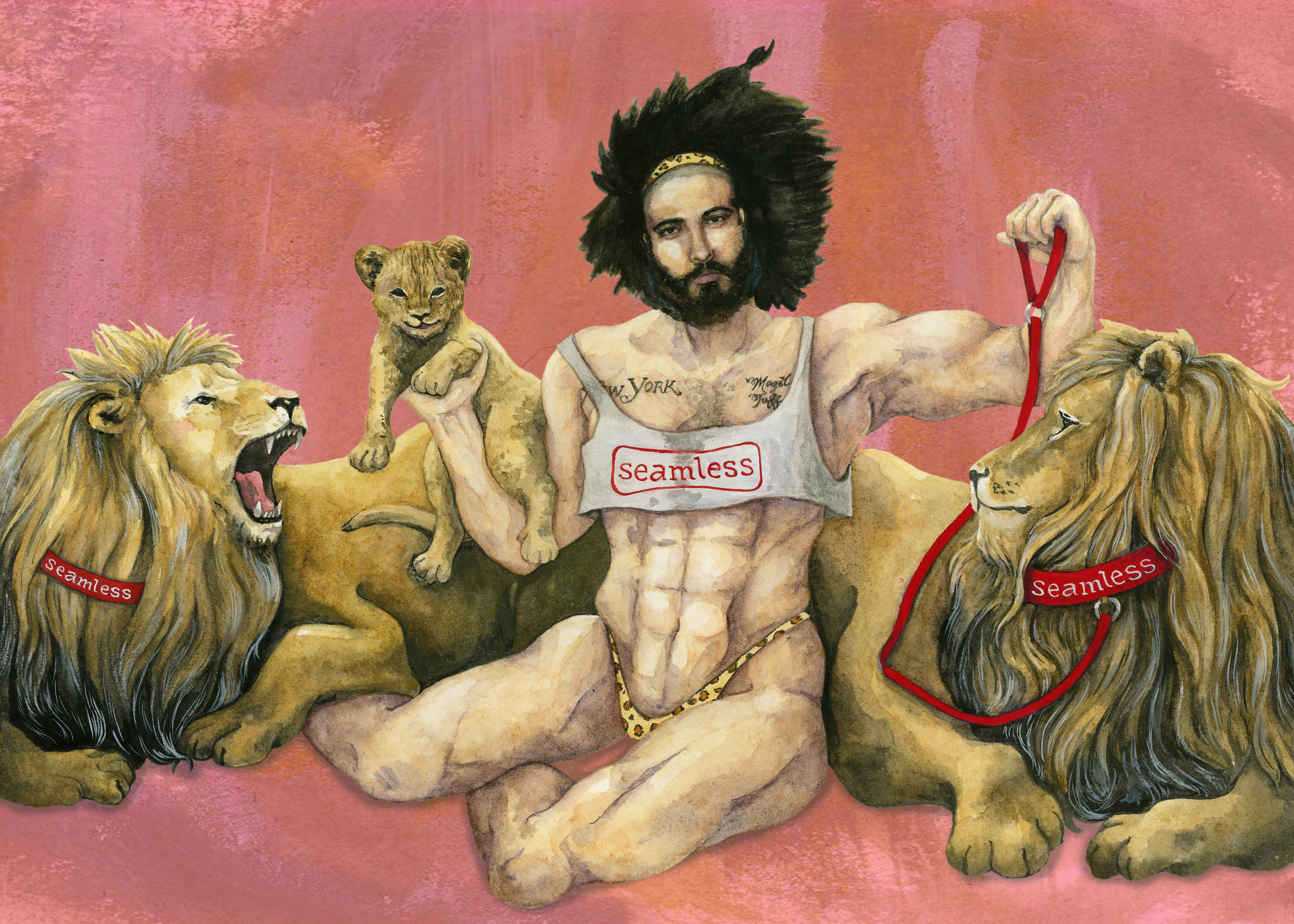 Josh as a female bodybuilder with lions  Watercolor and ink on paper 2015