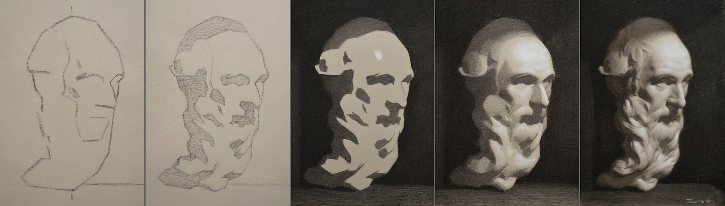 Step by step cast, 2x8%22, Charcoal and white chalk on toned paper, 2015.jpg