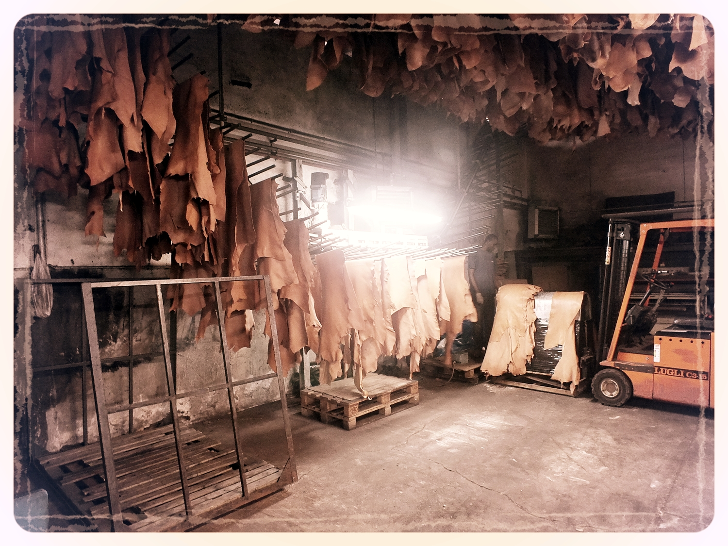 Drying the leathers in the Tannery