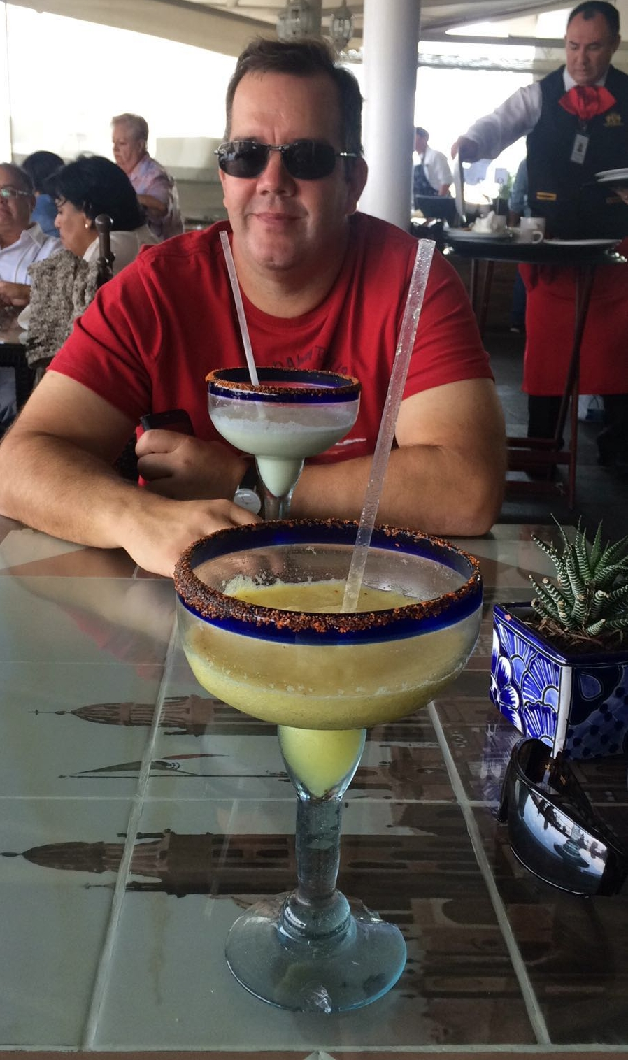 Two large frozen margaritas why not!