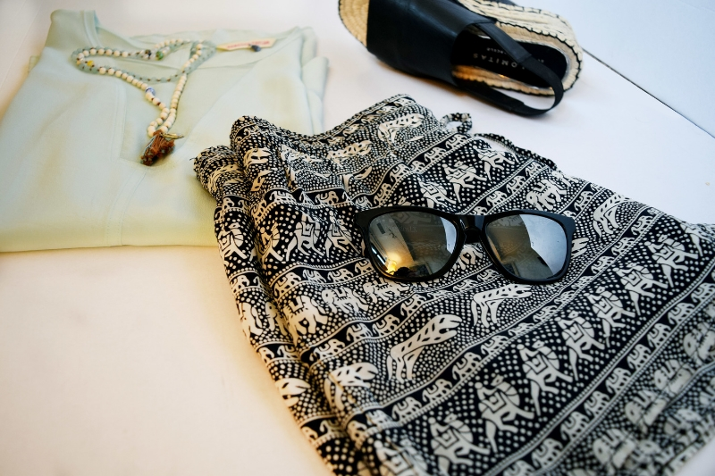 Lux Lake necklace ($120) Rebecca Taylor top ( sold here ) Oakley shades ( sold here )  Palomo Barcelo e  spadrilles (  sold here  )  Tolani  shorts ( similar here )