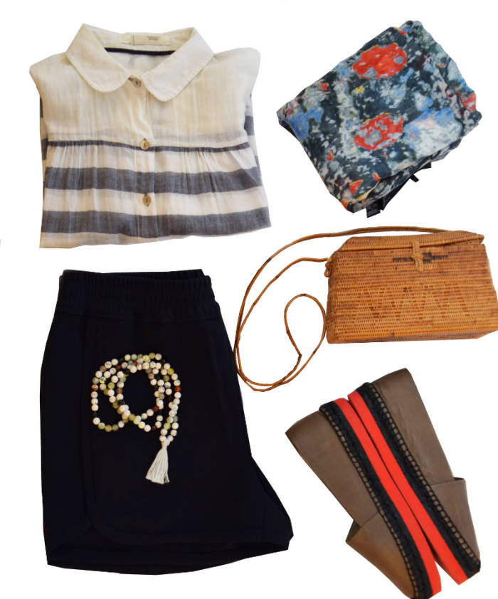 Lux Lake necklace ($120) J.Crew shorts ( sold here )  Palomo Barcelo E  spadrilles ( similar here   )    Yigal Azrouel  scarf ( similar here ) Purse (vintage)