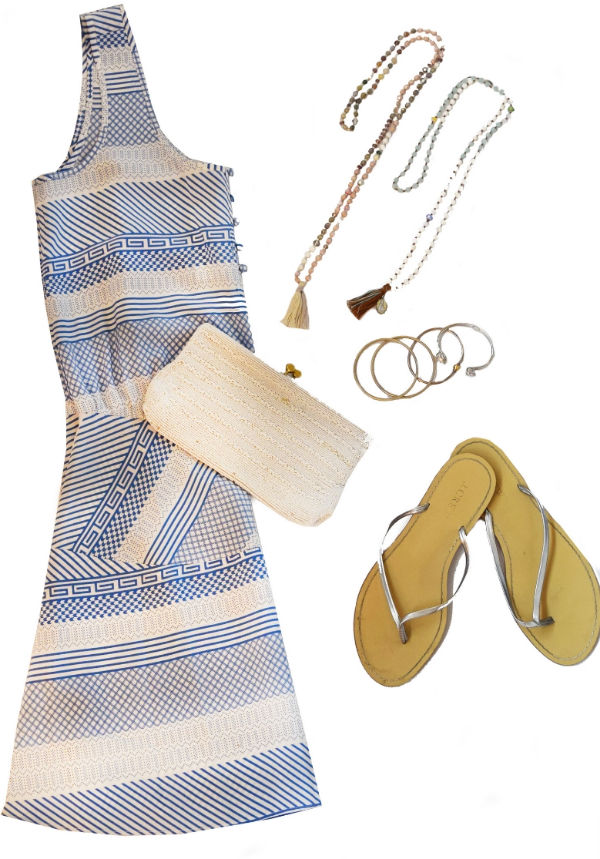 Lux Lake  necklaces ($120 each)  Veronica Beard  dress ( sold here ) Beaded Purse (vintage)  J.Crew  sandals ( sold here )
