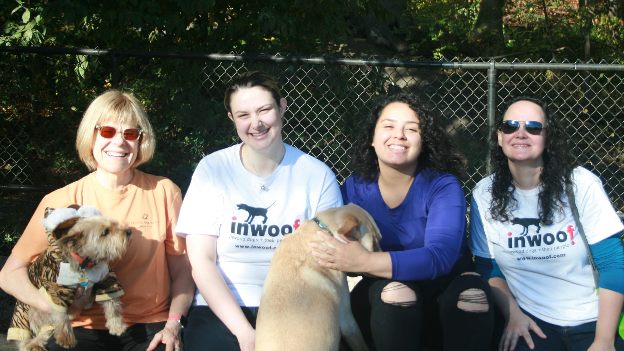 Current and former Inwoof officers at the 2017 Howl-O-Ween event. From left to right: Rebecca Klein (Treasurer), Larissa McDowell (former Vice President), Lisette Guillermo (former Parks Liason), Valerie Fullarton (President)