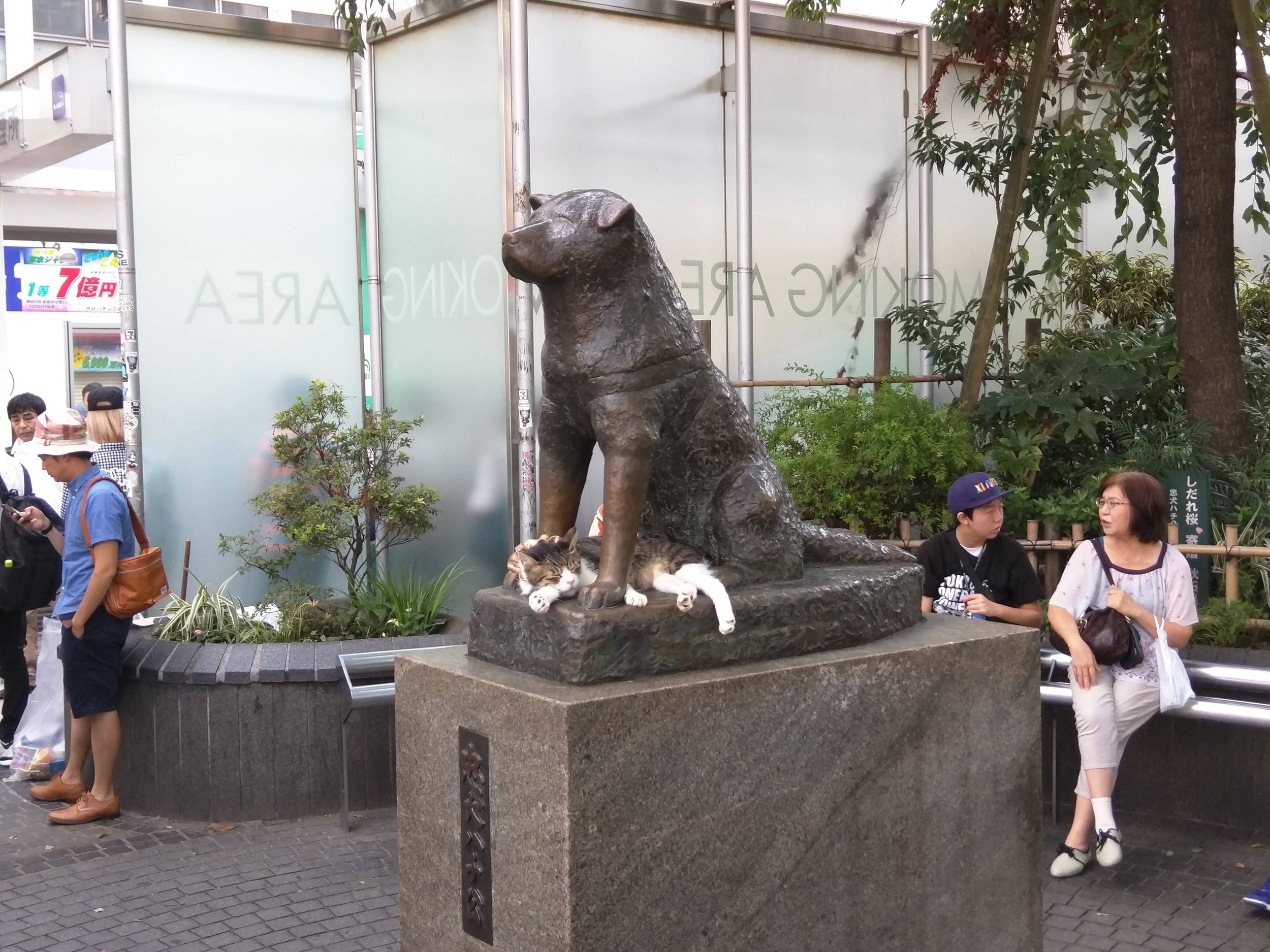 Bronze statue of Hachiko in front of the train station at Shibuya, Tokyo.