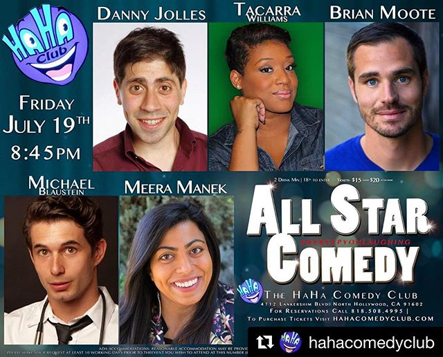 Folks! Cool your week off tonight with some live comedy @hahacomedyclub 8:45pm show!! #Repost ・・・ Friday All-Star Comedy Show! The line up is awesome! Message us for discounted tickets!  #wekeepyoulaughing #haha #comedy #comedian #lol #nohoartsdistrict #noho #haha #lol #la