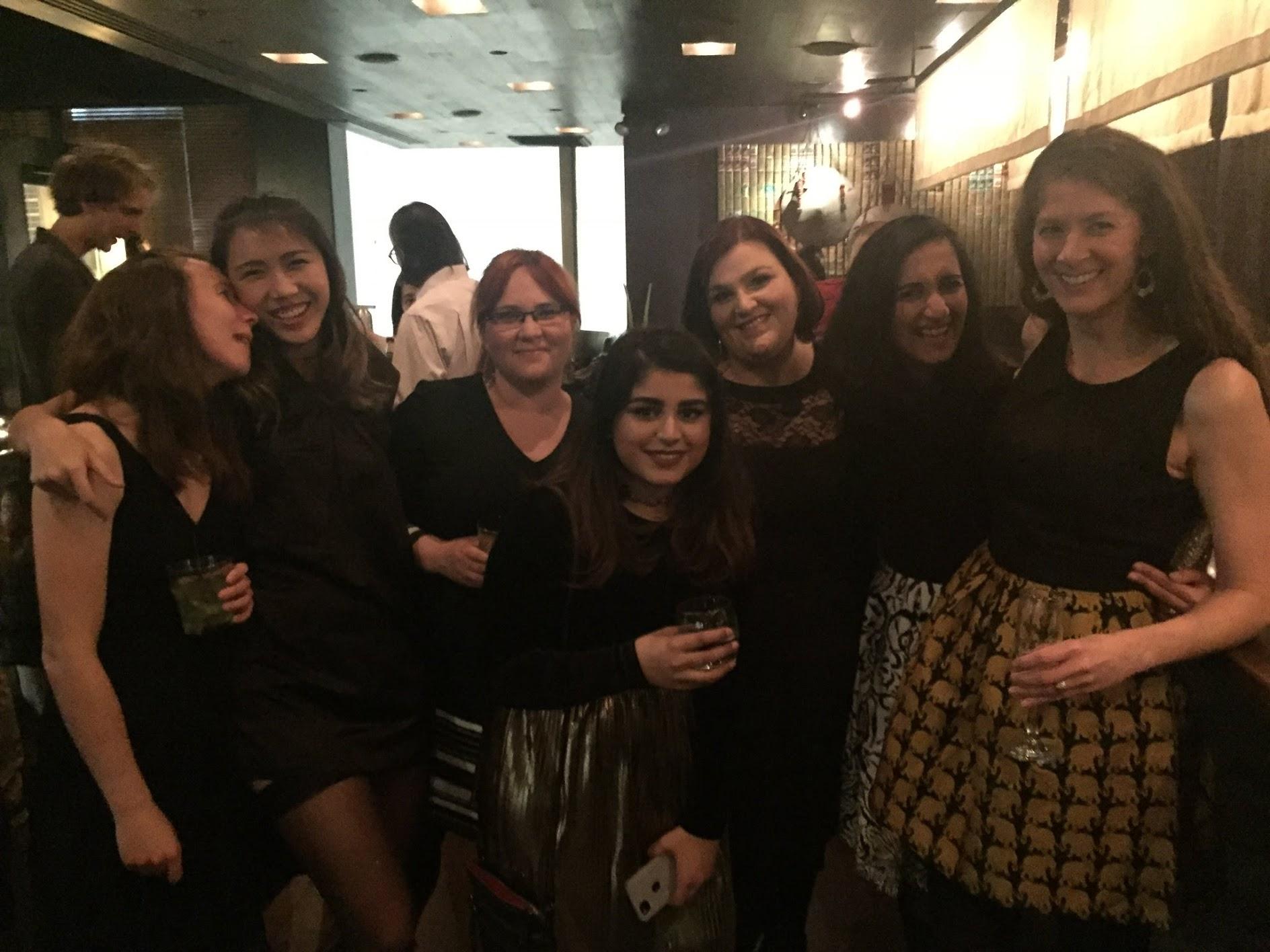 Feeling the holiday cheer  (left to right) Tanya Schild, Vivien Low, Didem Ilter, Tasnia Islam, Ana Gomes, Kripa Ganesh, Bethany Shaffer  December 2017