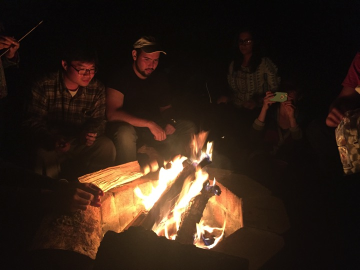 The lab is flame retardant but the wilderness is a different matter  (left to right) Sungyun Cho, Andre Chavez, Kripa Ganesh, Tanya Schild  September 2017