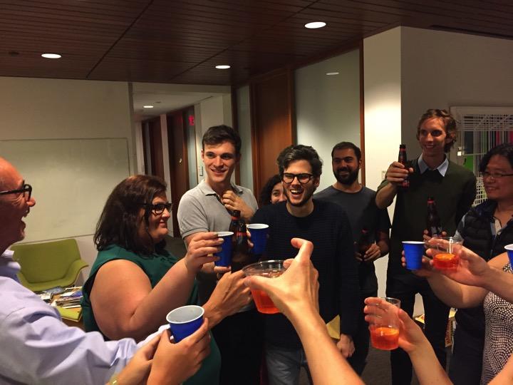 Cheers to a happy lab  (left to right) John Blenis, Ana Gomes, Edouard Mullarky, Joana Nunes, Andreas Lamprakis, Yasir Ibrahim, Ander Mutvei, Yihung Ou  November 2017