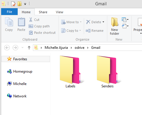 Once you open your Gmail folder within odrive, all of your email attachments are organized by Labels and Senders.
