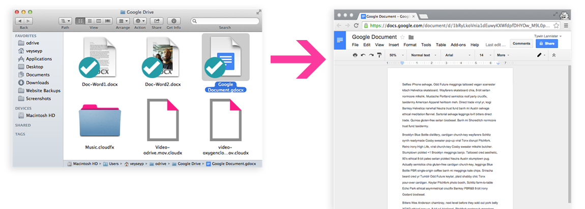 Double-clicking a Google Doc opens it directly in your browser ready to edit.